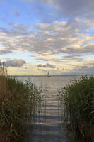 Juodkrantė · marios, debesys, nendrės, jachta 1669