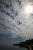 Juodkrantė · krantinė, marios, debesys