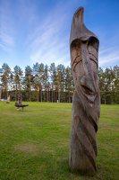 Sirvėtos regioninis parkas · medinė skulptūra Bėlio ežero aikštelėje 9315