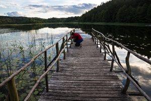 Sirvėtos parkas · Sėtikio ežeras, saulėlydis, lieptas