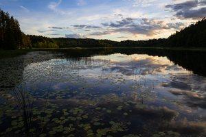 Sirvėtos parkas · Sėtikio ežeras, saulėlydis
